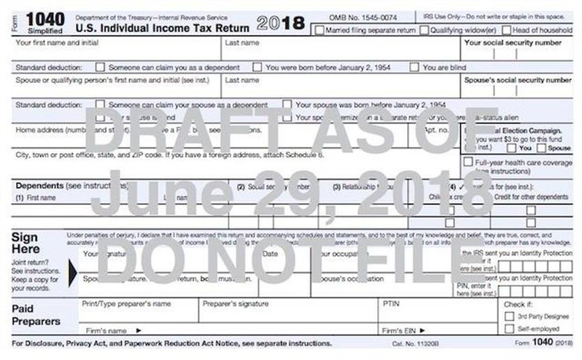 Sneak Peak At New Postcard Size Irs Tax Form